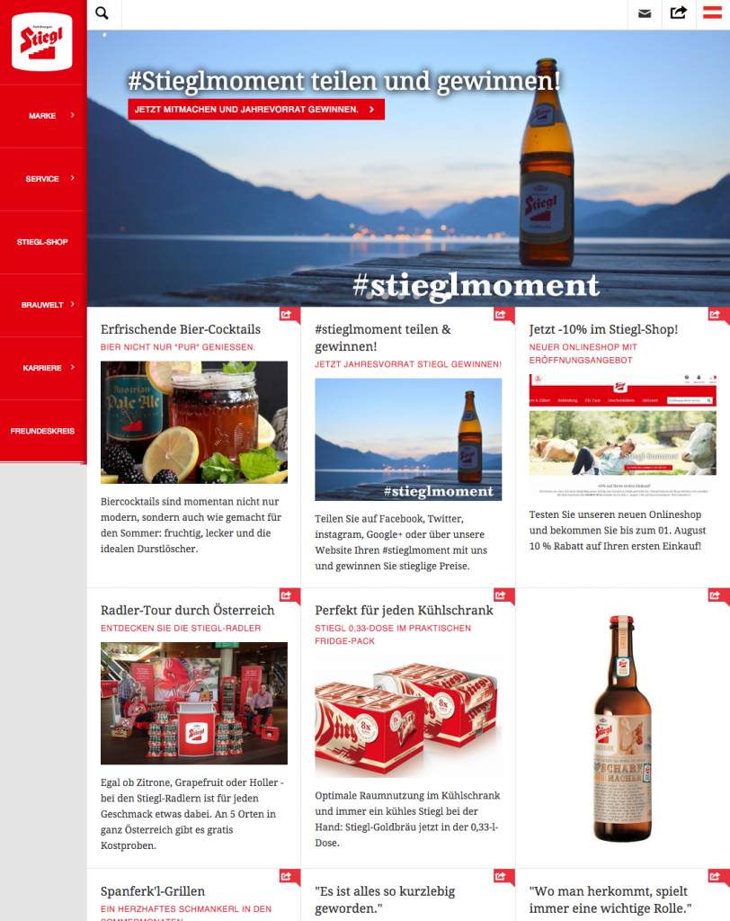 Screenshot Stiegl-Website